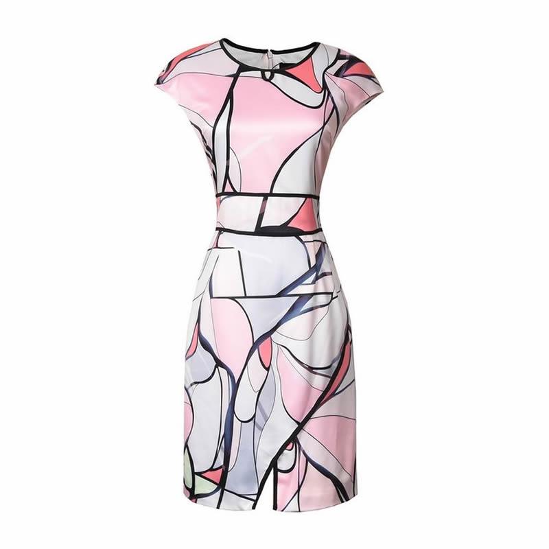 Robes Dame Women Dress Nouvelle Été Imprimé O À Élégante cou Gaine Géométrique Manches Courtes De Robe v7IbfgyY6