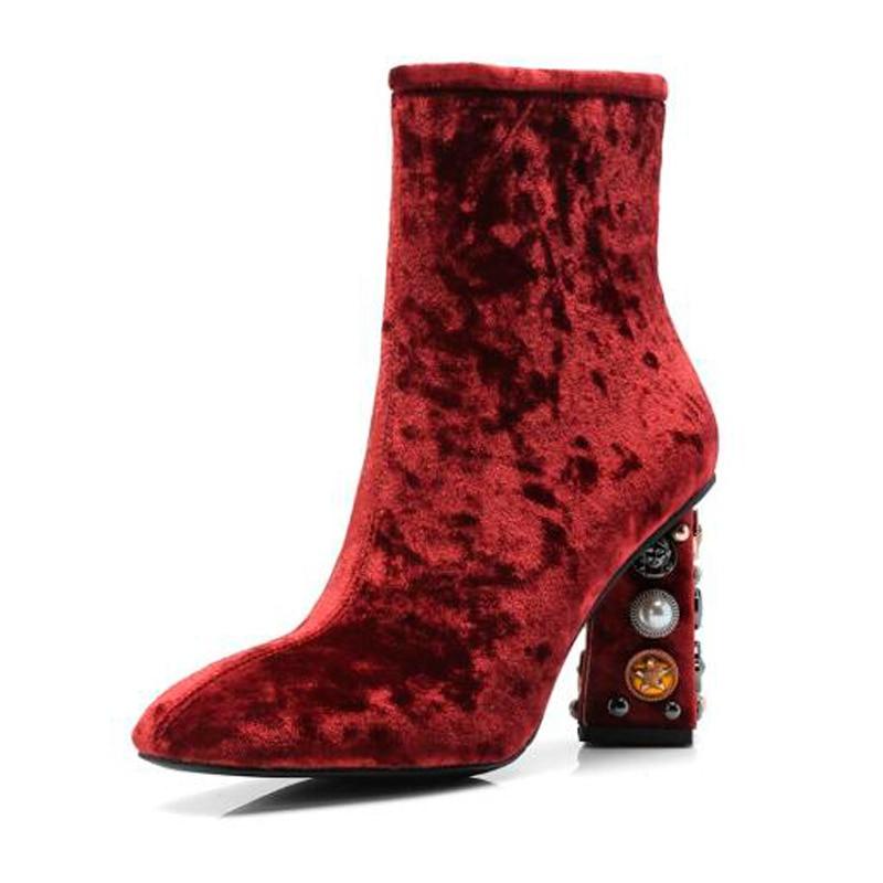 Chunky Stiefeletten Rot Frauen Heel Knsvvli Verzierte High Weibliche Red wine Eleganz Luxus Samt Kristall Black Nieten Autumm Ferse Wein Booties w6x6qEX