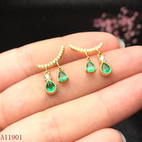 KJJEAXCMY fine jewelry Identification of 925 Silver inlaid Celestial Emerald Ear Nails cvdfg