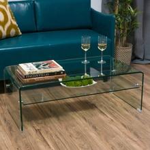 Classon Glass Rectangle Coffee Table w Shelf