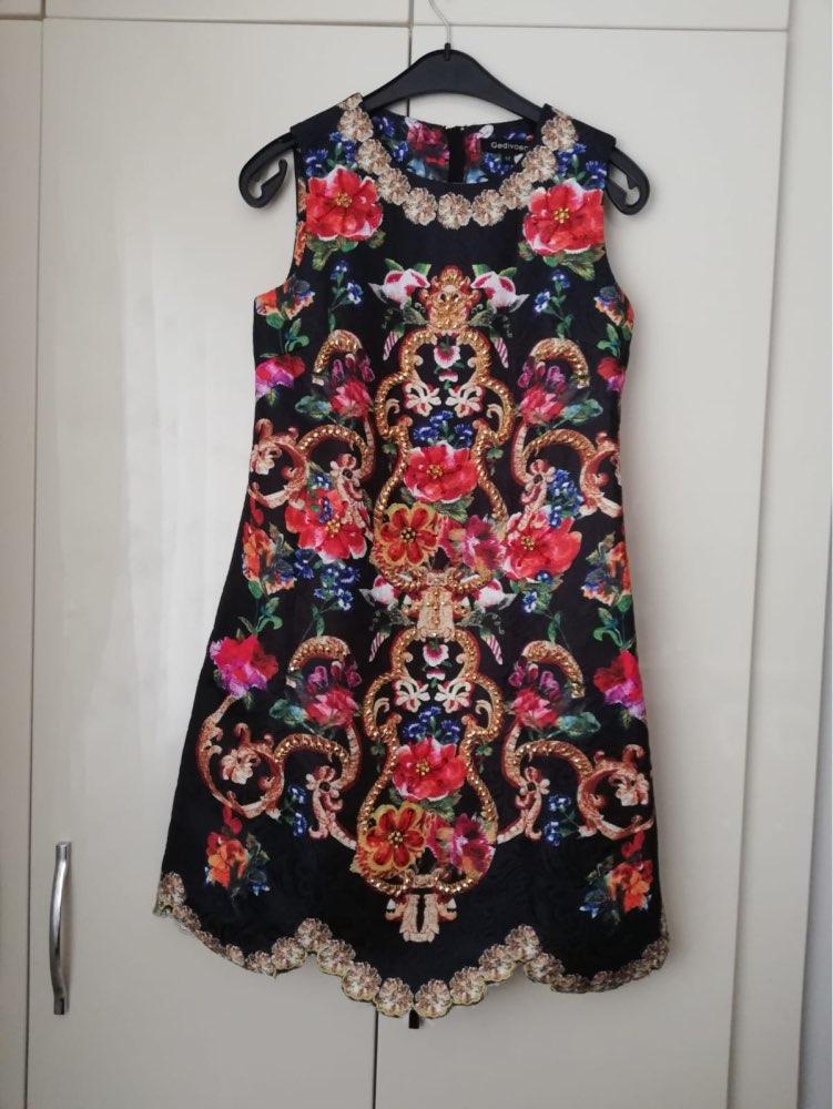 Autumn Fashion Runway Dress Women's Sleeveless Tank Retro Crystal Beading Floral Print Mini Vintage Dress photo review