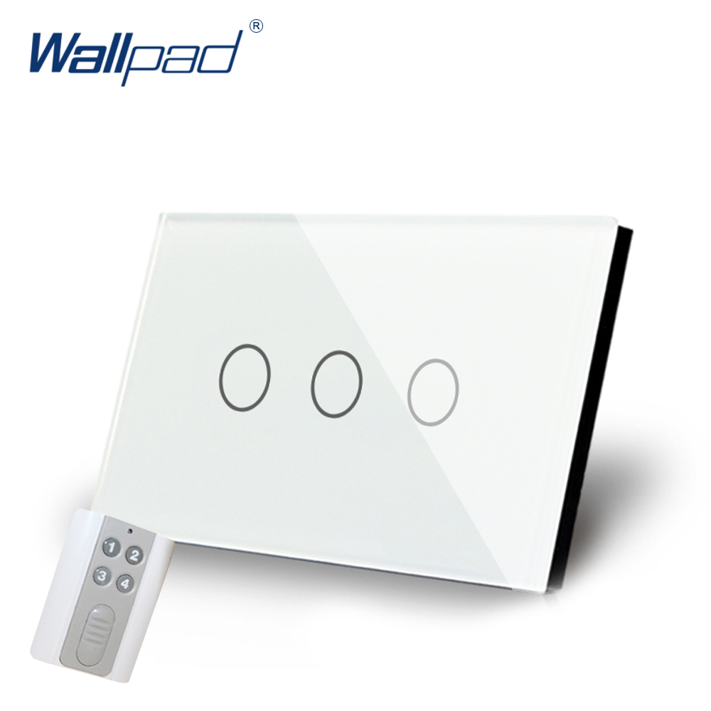 White 3 Gang Remote Control Light Switch Crystal Glass Screen Switch Wallpad Luxury US/AU LED Touch Switch with Remote Control smart home us black 1 gang touch switch screen wireless remote control wall light touch switch control with crystal glass panel