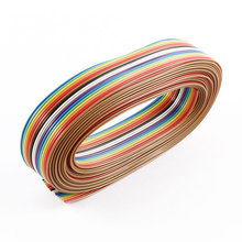 цены UXCELL 13Ft 4M Length 16 Way 16 Pin Rainbow Color Flat Ribbon Cable Idc Wire 1.27Mm Spacing Diy
