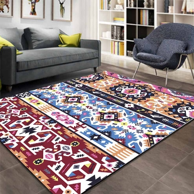 Else Aztec Retro Red Blue Ethnic Geo 3d Pattern Print Non Slip Microfiber Living Room Decorative Modern Washable Area Rug Mat
