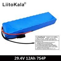 LiitoKala-motor de bicicleta eléctrica, 7S4P, 29,4 v, 12Ah, 24v, paquete de batería de iones de litio 18650, baterías recargables de litio 15A