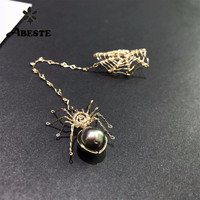 ANI 14K Roll Gold Fashion Handmade Women Earrings Engagement Drop Earring Tahiti Black Pearl Roll Gold aretes Spider Shape