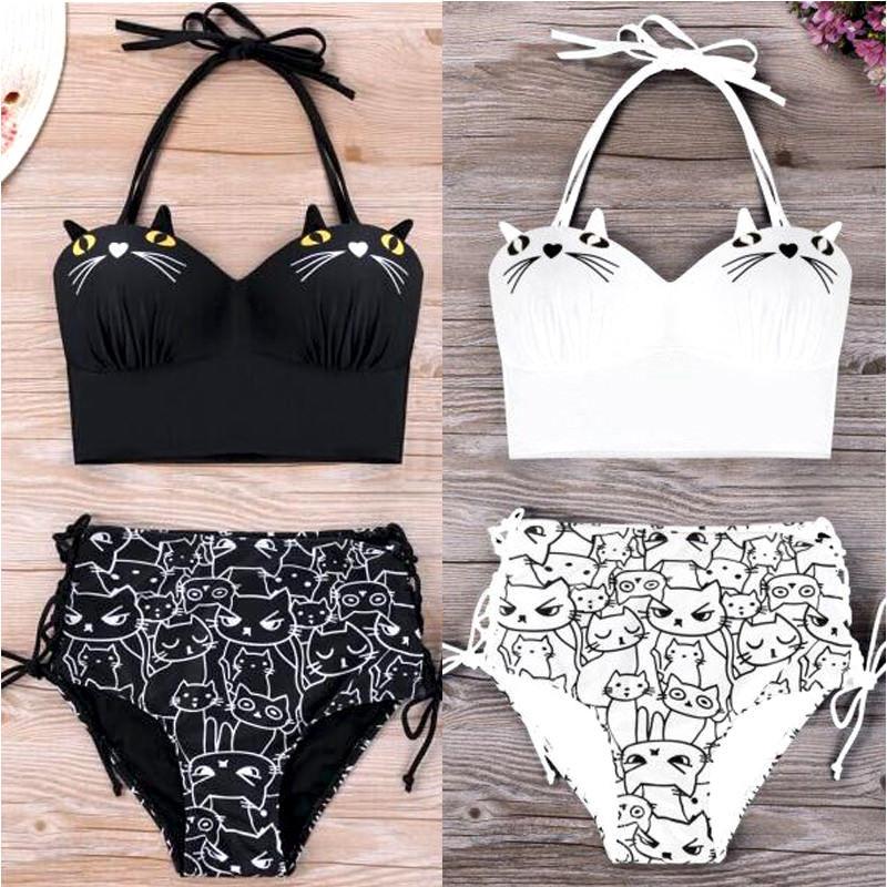 2018 Cute 3D Cats Print Bikini Set Women High Waist Swimwear Swimsuit for Women Push-Up Padded Bathing Suit Biquini Plus Size