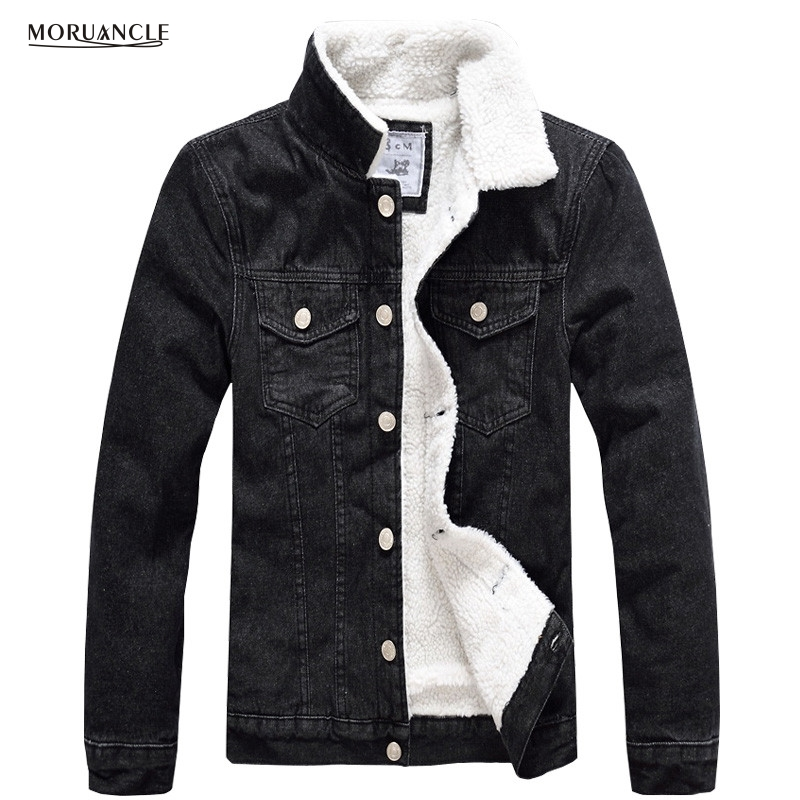 MORUANCLE Winter Mens Fleece Jeans Jackets Male Thick Warm Cotton Lined  Denim Jacket With Patches Size - Popular Mens Fleece Lined Denim Jacket-Buy Cheap Mens Fleece Lined