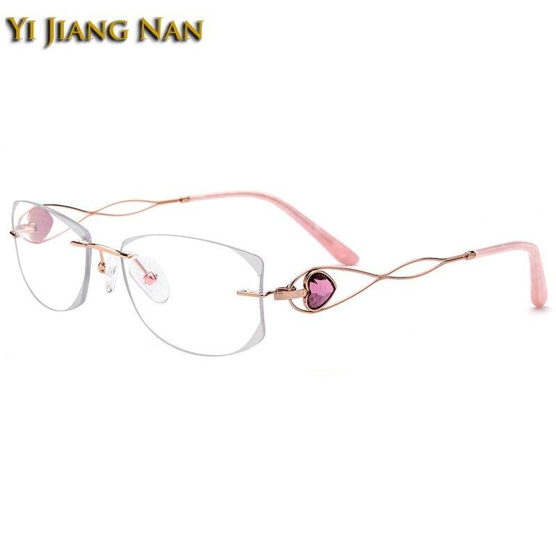 Yi Jiang Nan marque diamant taillé sans monture titane lunettes cadres femmes nouvelle mode lunettes en or avec des lentilles transparentes