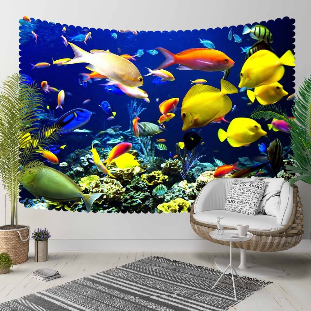 Else Blue Under Sea Yellow Orange White Fish Nature 3D Print Decorative Hippi Bohemian Wall Hanging Landscape Tapestry Wall Art