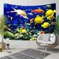 Sinon bleu sous mer jaune Orange blanc poisson Nature 3D impression décorative Hippi bohème tenture murale paysage tapisserie mur Art