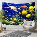 Sonst Blau Unter Meer Gelb Orange Weiß Fisch Natur 3D Druck Dekorative Hippi Böhmischen Wand Hängen Landschaft Wandteppich Kunst