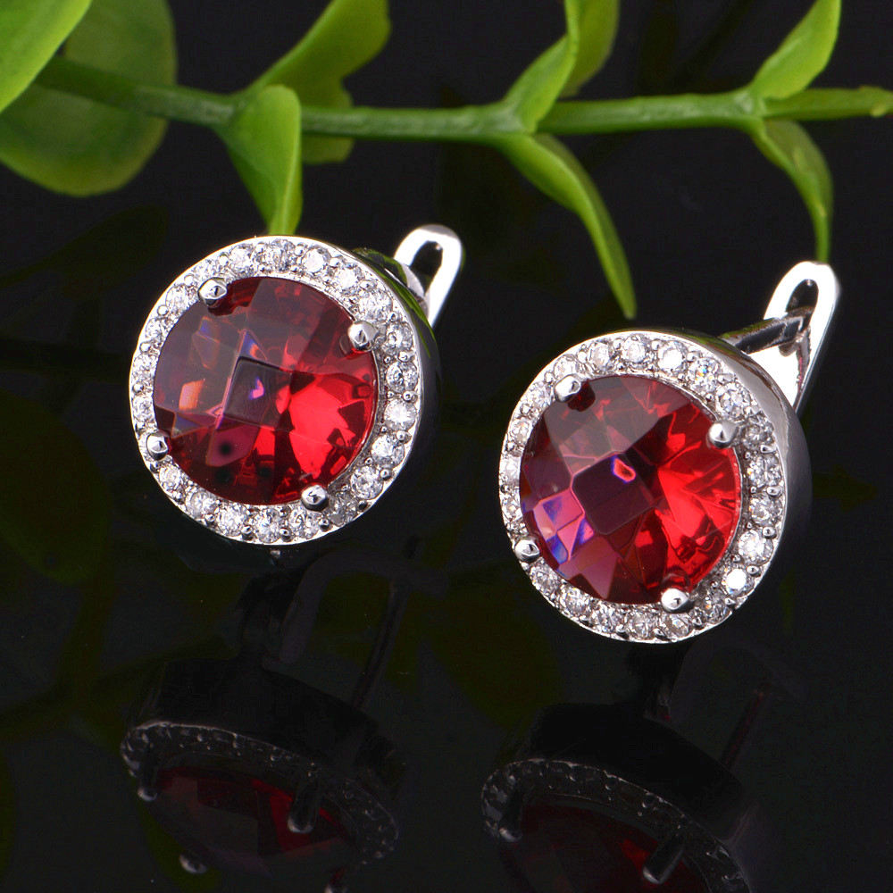 Uloveido Wedding Jewelry Set Necklace Earring Rings Jewelry Red Purple Crystal Ornamentation Jewelry Sets Earrings Gifts T078