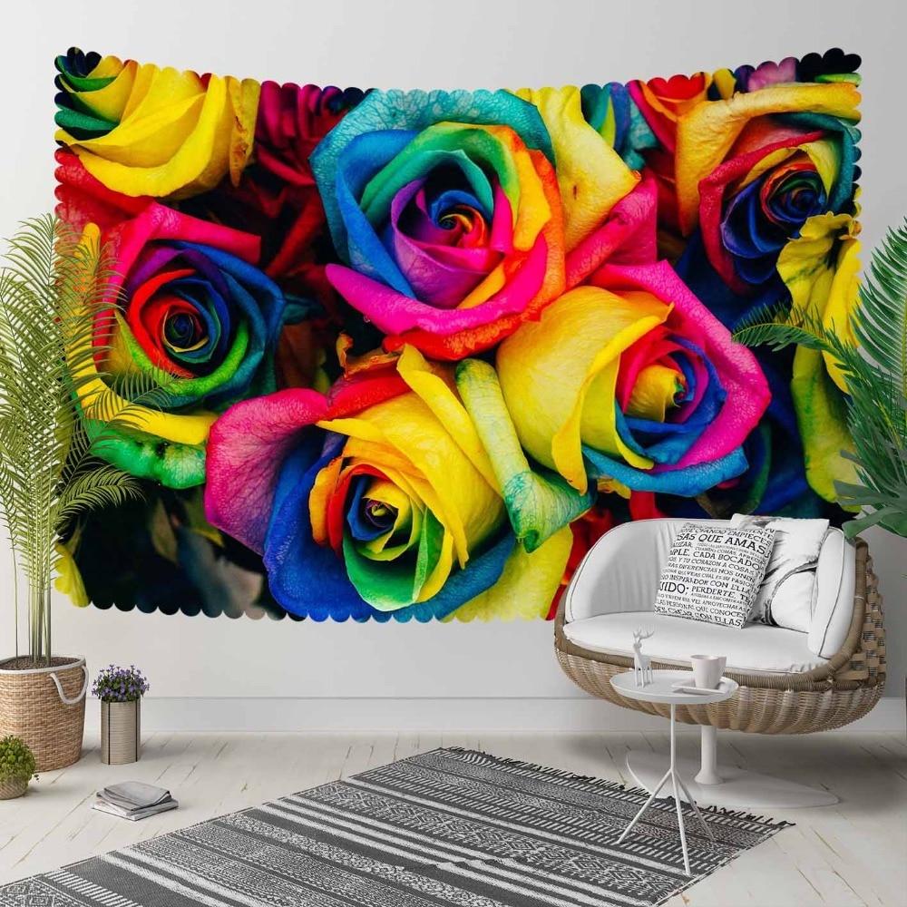 Autre jaune bleu vert rose Roses fleurs fleurs impression 3D décoratif Hippi bohème tenture murale paysage tapisserie mur Art