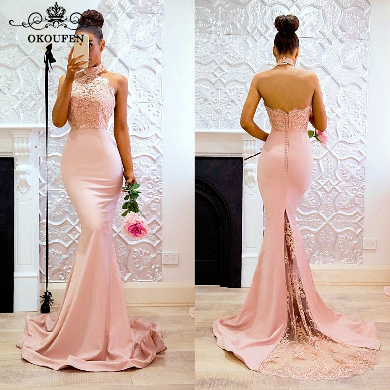 Sexy Halter Backless Mermaid   Bridesmaid     Dresses   For Women 2019 Sheer Lace Appliques Long Maid Of Honor   Dress   Party Gown
