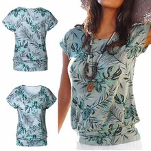 Summer Women T-shirts Leaf Printing O-Neck Tops Casual Fashion Sexy Short Sleeve Tees Women's Clothing