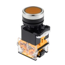 UXCELL 22mm Momentary Push Button Switch Orange Round Flat DPST 1 NO NC Electrical Equipment Supplies PCS