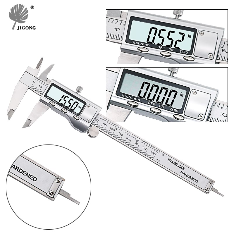 JIGONG 0-150mm/6″ Metal casing Digital CALIPER VERNIER caliper GAUGE MICROMETER