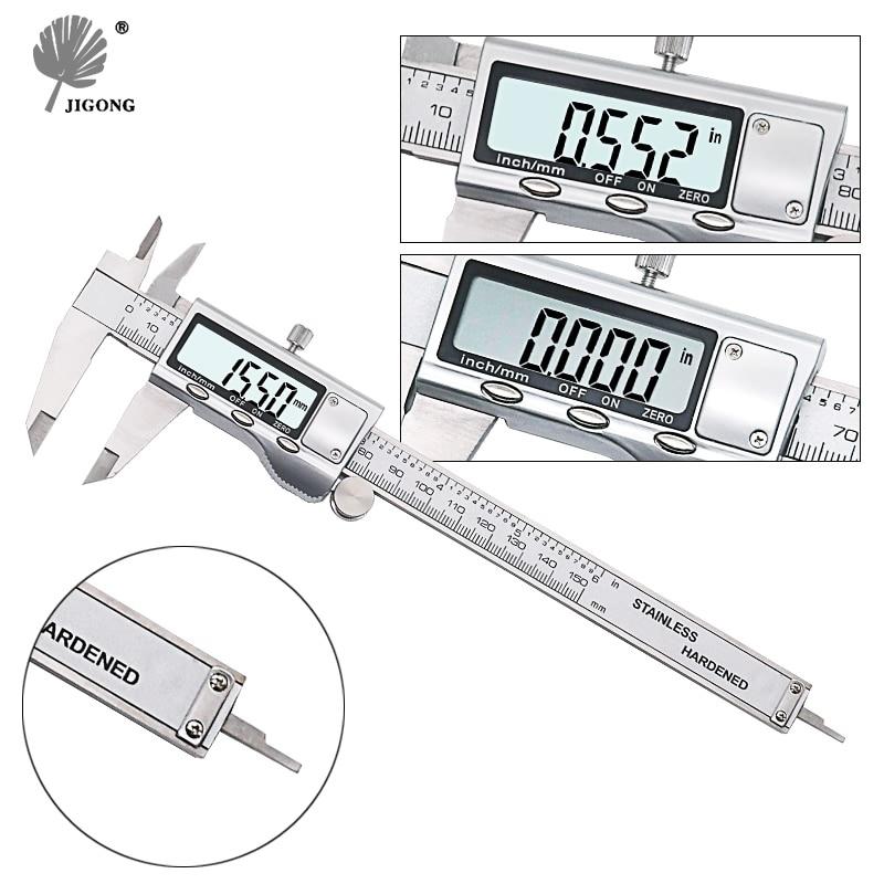 "Jigong 0-150mm/6 ""metal embalagem digital caliper vernier caliper calibre micrômetro"