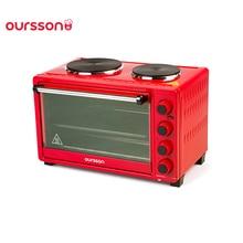 Мини-печь Oursson MO3030/RD, 30 литров, 2 конфорки, решетка,корзина гриль,таймер со звуковым сигналом, 5 режимов работы, поддон для крошек, конвекция