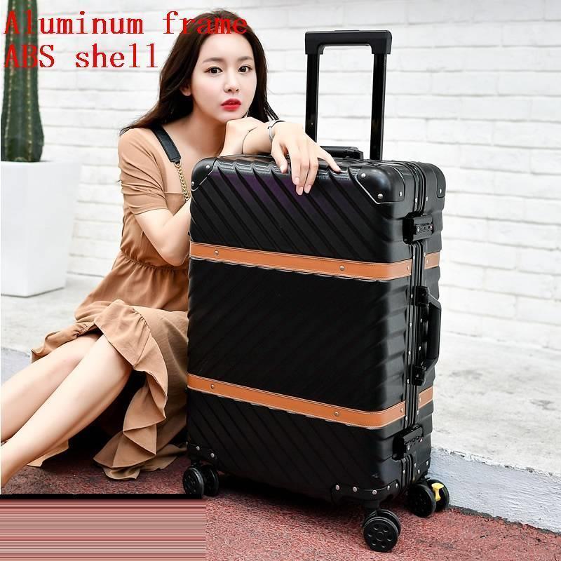 Med hjul Valise Bagage Roulettes Travel Aluminiumlegeringsram Carro - Väskor för bagage och resor - Foto 5