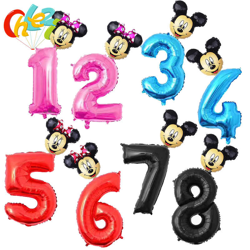 32 inch Pink Blue Red Black Number foil Balloons Mickey Minnie Balloon figure 1 2 3 4 5 6 year kid boy girl Birthday Party decor