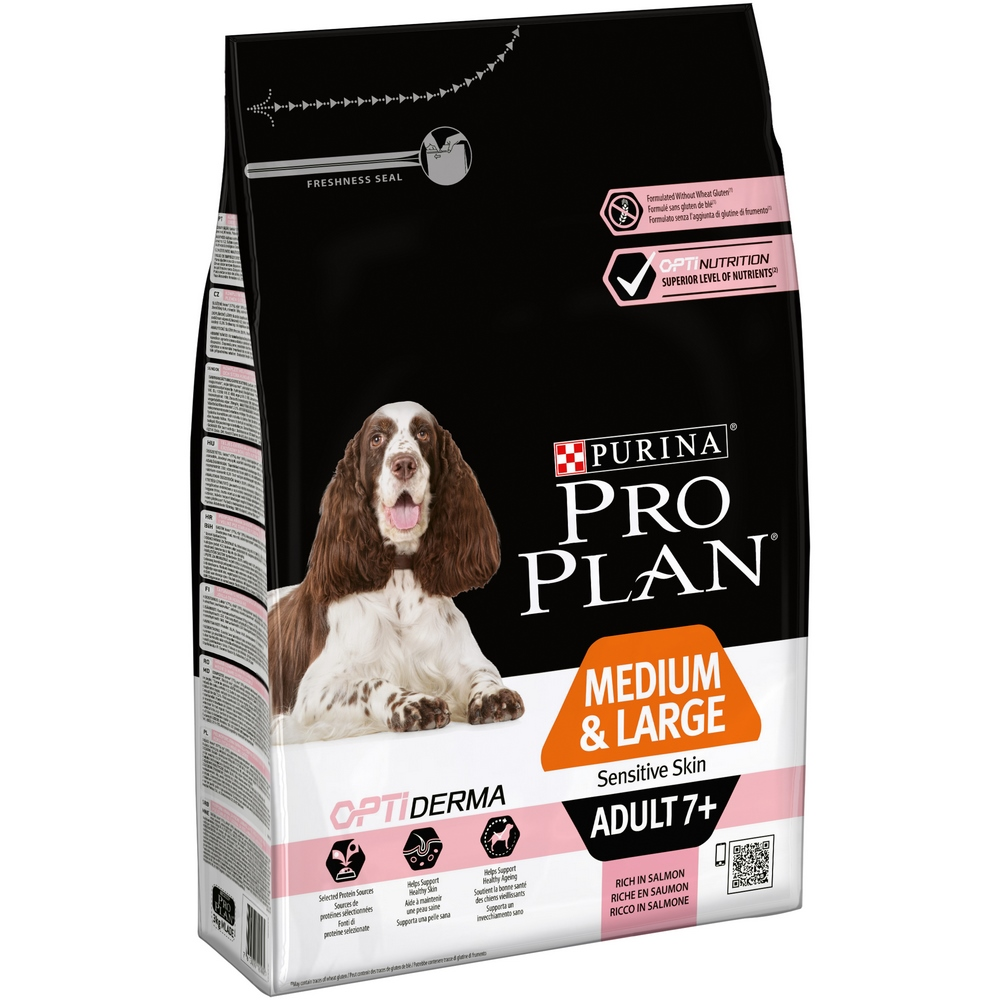 Dog Dry Food Pro Plan Medium & Large Adult 7+ Sensitive Skin for elderly dogs of medium and large breeds with sen, Salmon, 3 kg dog dry food pro plan medium adult for adult dogs of medium breeds chicken 1 5 kg