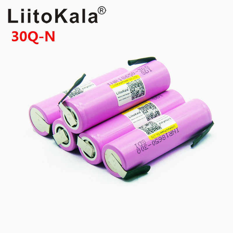 2018 Liitokala Original 18650 3000mah Battery INR18650 30Q 20A Discharge Li-ion Rechargeable Battery for E-cigarette+DIY nicke