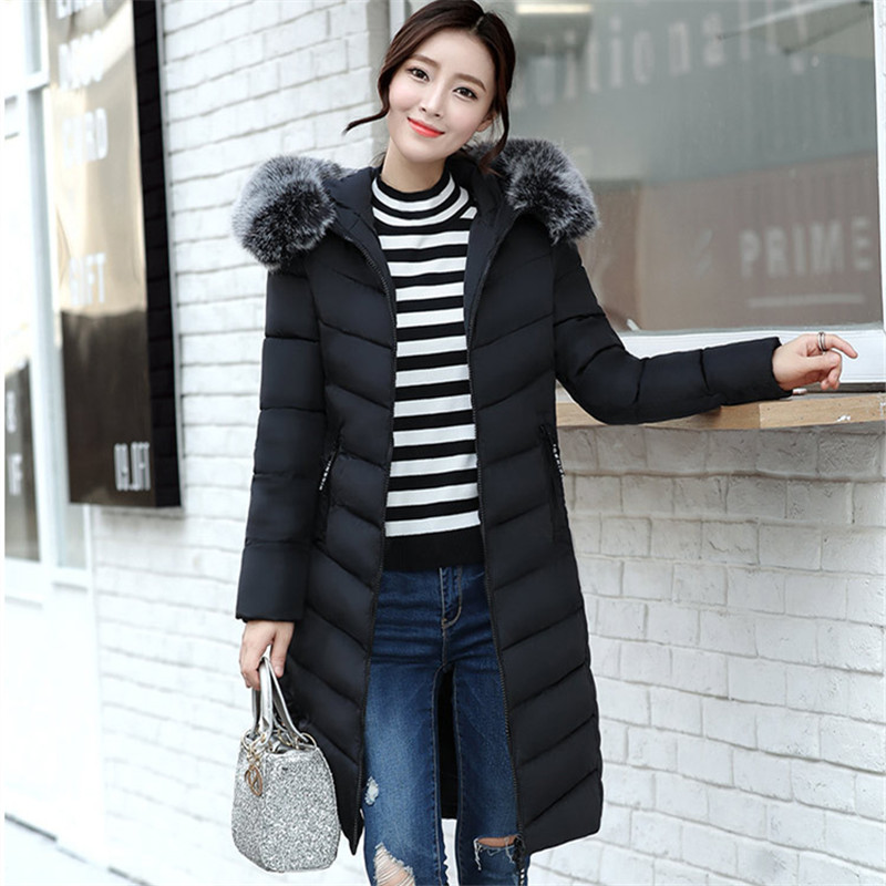 Women winter jacket army green jacket thick Fur Hooded long Down Cotton Padded Female Coat Parka