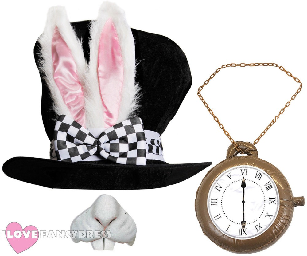 WHITE RABBIT TOP HAT ALICE WONDERLAND EASTER BUNNY EARS NOSE INFLATABLE CLOCK FANCY DRESS PARTY COSTUME OUTFIT SCHOOL BOOK WEEK