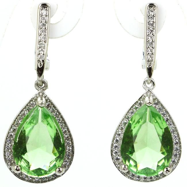 Classic Drop Shape Green Tsavorite Garnet Natural White CZ 925 Silve Earrings 34x14mm