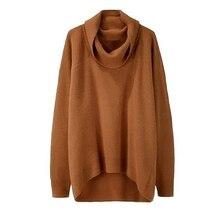 Women's Autumn Winter Loose High Turtle Neck Irregular Long Sweater Knitwear Top