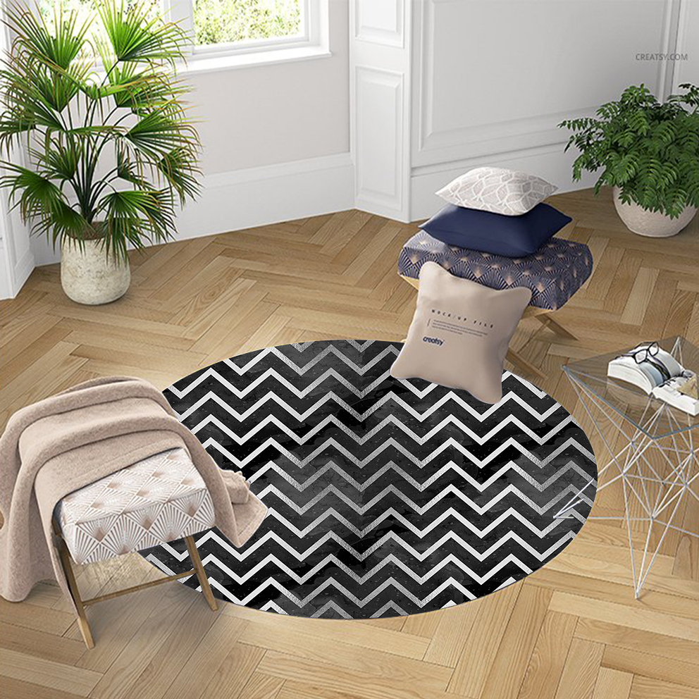 Else Black Gray White Stripes Lines Nordec 3d Pattern Print Anti Slip Back Round Carpets Area Rug For Living Rooms Bathroom