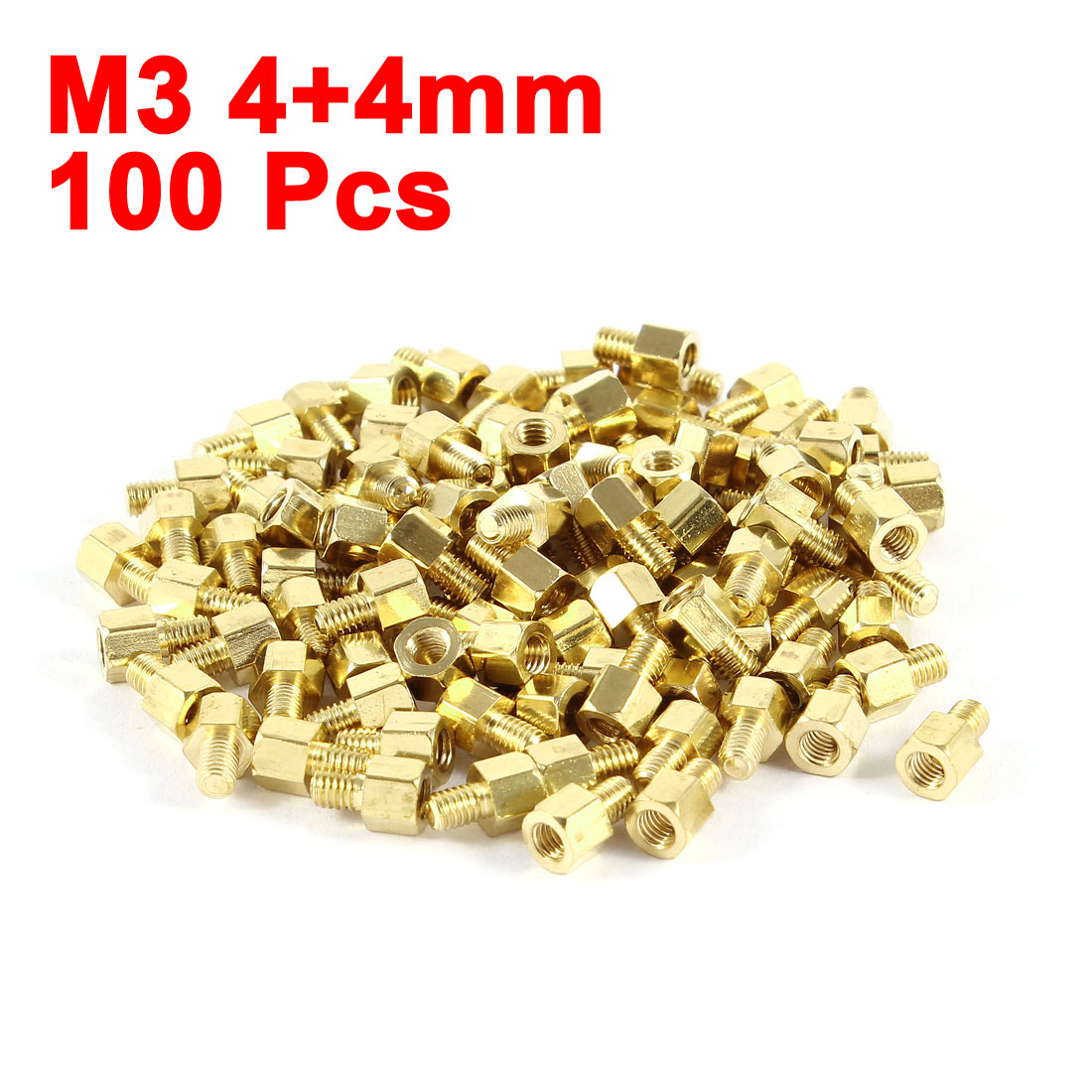 UXCELL 100 Pcs Brass Hex Standoff Spacer <font><b>M3x4mm</b></font> Female To <font><b>M3x4mm</b></font> Male M3 4+4Mm image