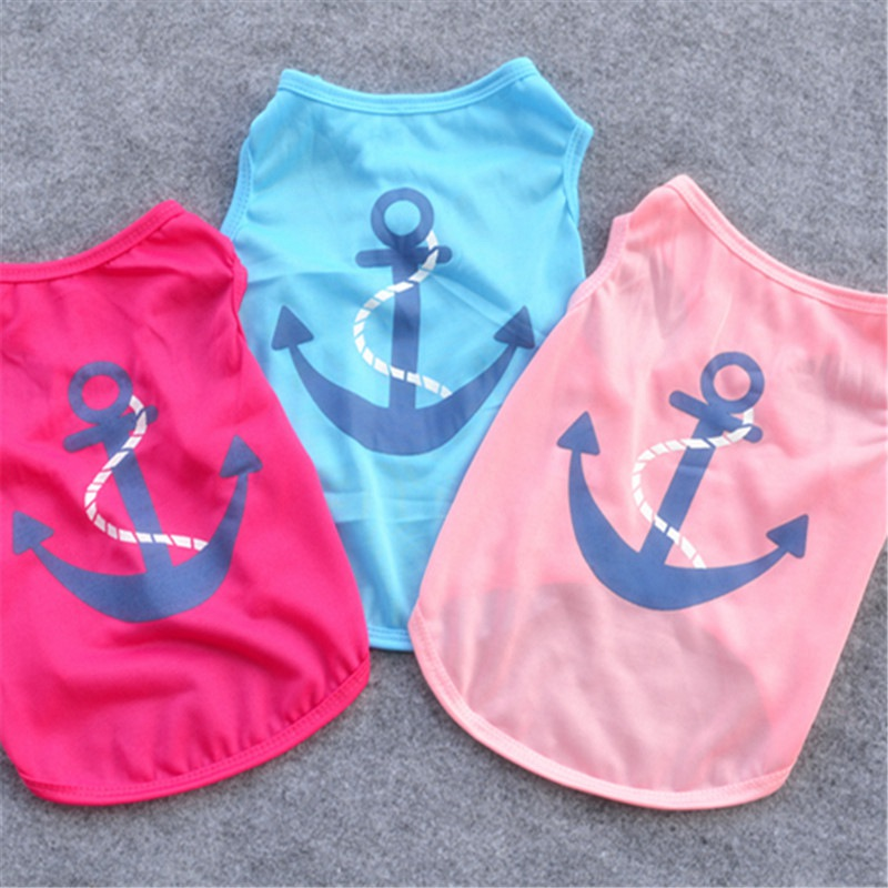 T Shirt With Anchor Cats Clothing For Pets Jumpsuit Clothes Cat Pet Supplies Shirt Hond Sphynx Summer Clothing For Pet Dogs