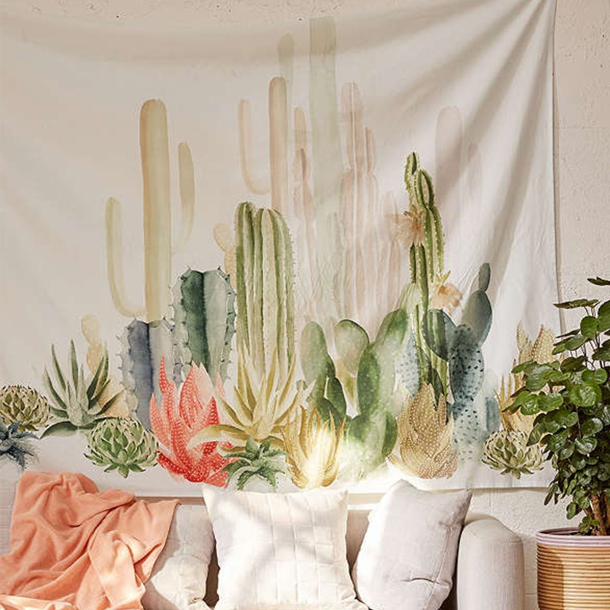 Wall Hanging Cactus Tapestry Cotton Bohemian 150 150cm
