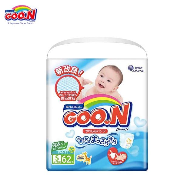 Трусики-подгузники GOON для Мальчиков и Девочек 5-9 кг (62 шт.) S