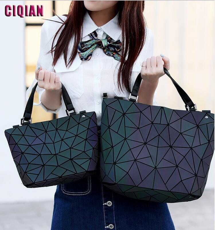 HOT Luminous Bag Women Geometry Tote Quilted Shoulder Crossbody Hologram Laser Plain Folding Handbags Geometric Large Capacity