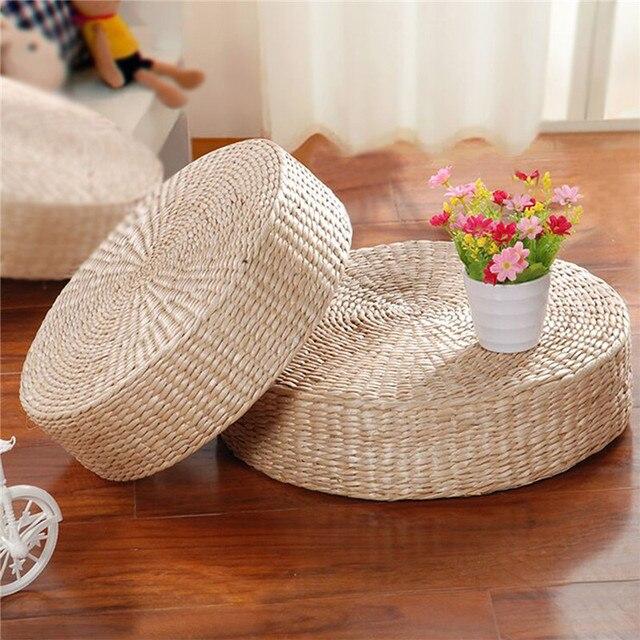 40cm Handmade Round Straw Weave Pillow Floor Yoga Chair Seat Mat Tatami  Cushion Yoga Mat Blankets
