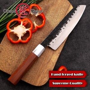Image 3 - มือ Santoku มีด 7 นิ้วเหล็กคาร์บอนมีดครัว Chef Slicing เครื่องมือทำอาหาร Sashimi Sushi ตัดไม้ Handle