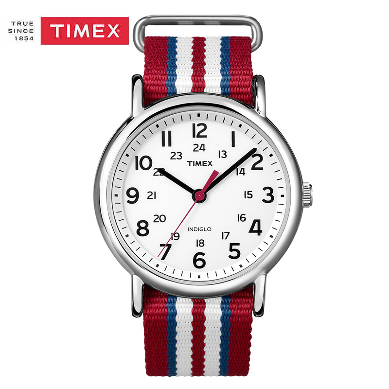 Timex Valentine's Day Gift Women Mens Watches Unisex T2N746 Weekender Slip INDIGLO Backlight Nylon Strap Quartz Casual Watches gift n home