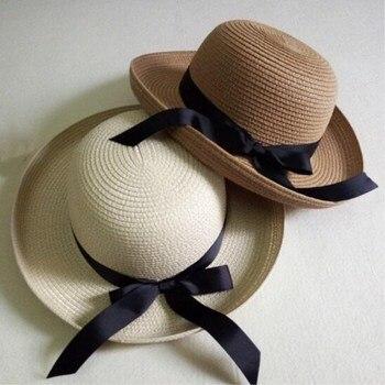 Seioum Sol Sombrero del Verano de Las Nuevas Mujeres Negro Bowknot Cinta  Flanging Sombrero de Paja dc7e9513934