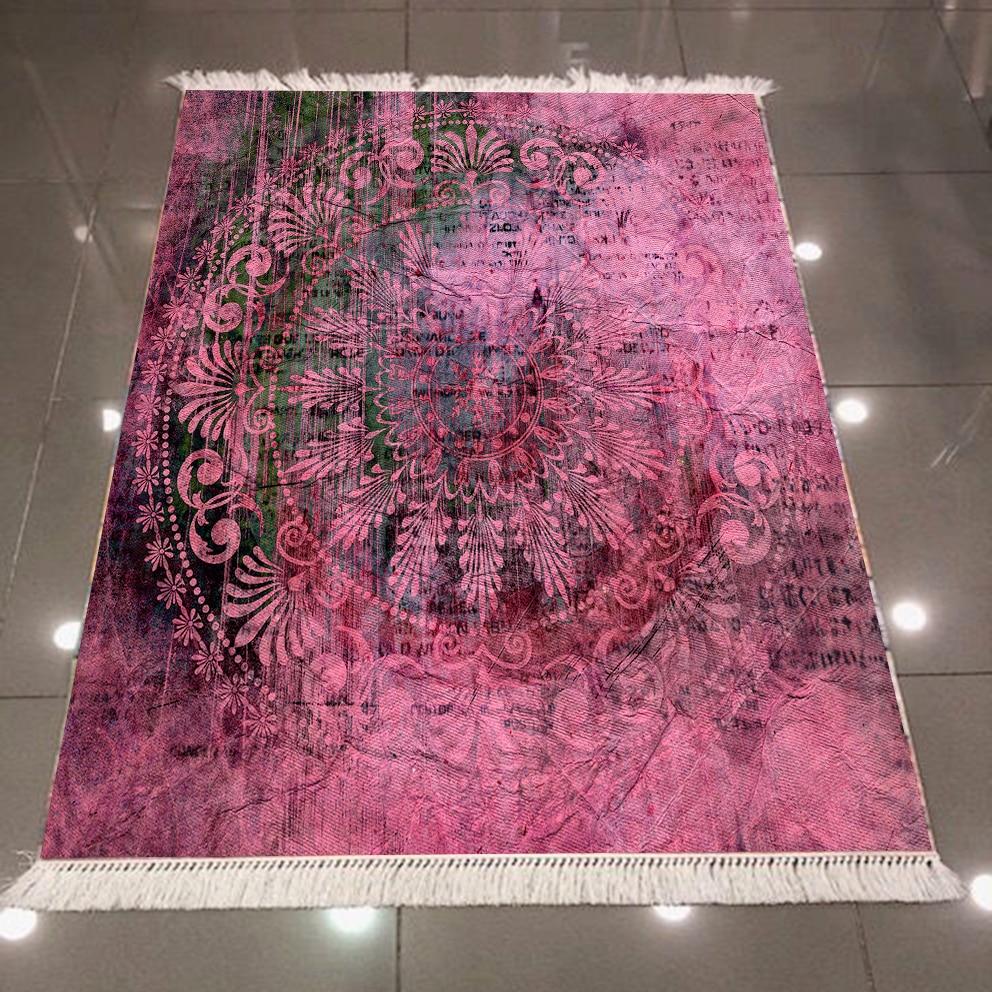 Else Purple Black Ethnic Ottoman Vintage Authentic 3d Print Microfiber Anti Slip Back Washable Decorative Kilim Area Rug Carpet
