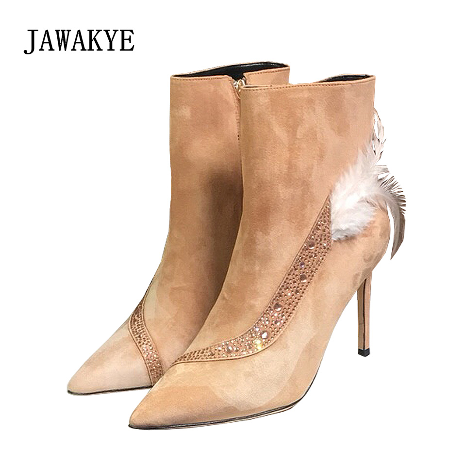JAWAKYE Pointy Toe Real Suede rhinestone Ankle Boots Women feather fashion Thin High Heels elegant Party Shoes zapatos mujer spell color pointy toe buckle thin high heeled 2016 spring fall new elegant fashion women party shoes rabatt kostenloser versand page 3