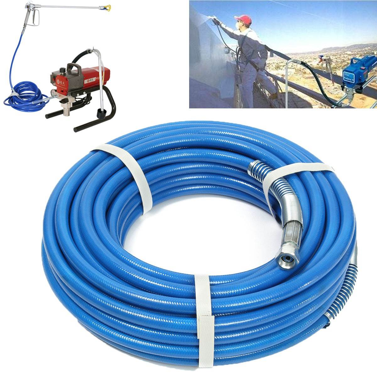 15m Airless Hose 5000PSI High Pressure Pipe Airless sprayer Airless Paint Hose For Sprayer Gun Sprayer Water 13m 5000psi high pressure pipe airless paint hose 50 x 1 4 sprayer airless paint hose for spray guns sprayer water