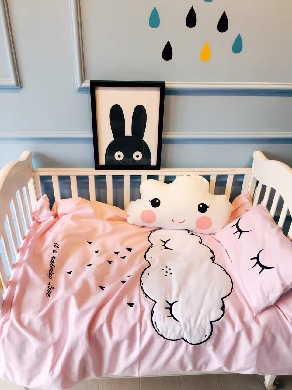 3Pcs Cotton Bed Bed Linen Kit Baby Infant Cartoon Bedding Set Includes Pillow Case Bed Sheet Duvet Cover No Load