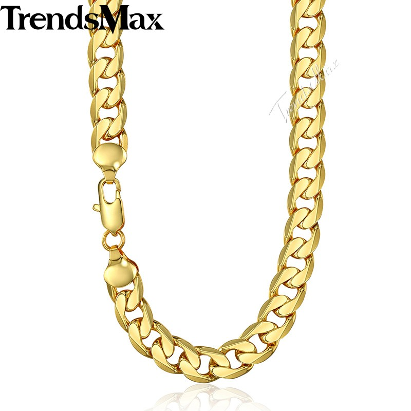 Trendsmax 12mm Mens Gold Chain Cuban Link Chain Rose Gold Filled Necklace Gift Jewelry for Men GN270