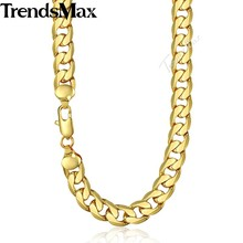 Trendsmax Men's Necklace Hip Hop Gold Cuban Link Chain Necklace For Male Jewelry 2018 Dropshipping Wholesale Gifts 12mm KGN270