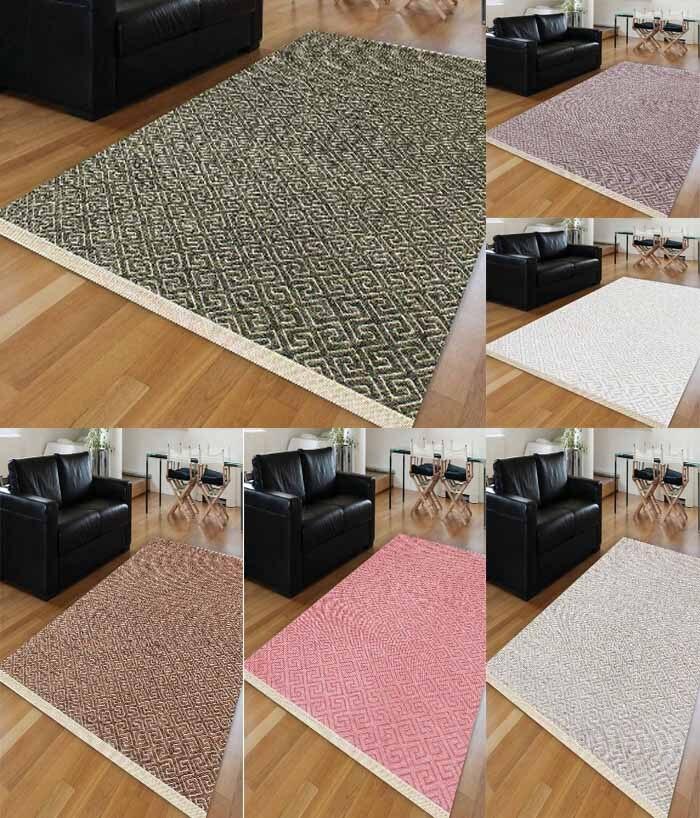 Else 6 Color Locked Ikat Purple Brown Green Gray White Pink Anti Slip Kilim Washable Decorative Plain Paint Woven Carpet Rug