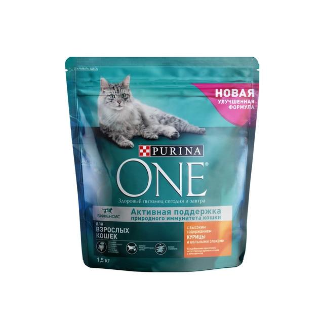 Набор сухой корм Purina ONE для взрослых кошек с курицей и цельным злаками, Пакет, 1,5 кг x 6 шт.